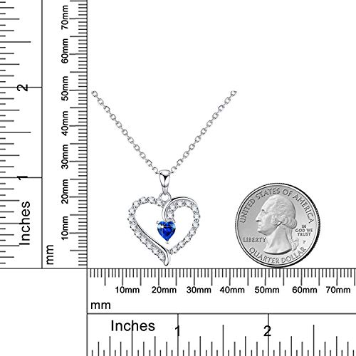 September Birthstone ❤️ You are The Only One ❤️ Love Heart Pendant Necklace for Wife Created Blue Sapphire Fine Jewelry Birthday for Women Her Girlfriend Daughter Sterling Silver by Dorella (Image #5)