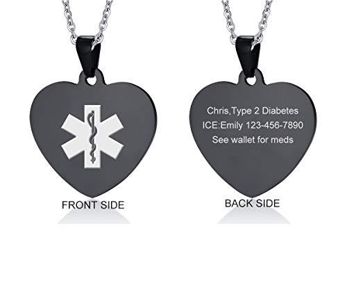 VNOX Custom Engraved Black Stainless Steel Heart Shape Alert ID Pendant Necklace for Men Women,20