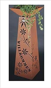 Jabo Design 'Columna + Oxidado XL Willkommen RS77+ S11Envío Gratuito Flores Deko óxido columnas columnas rostig