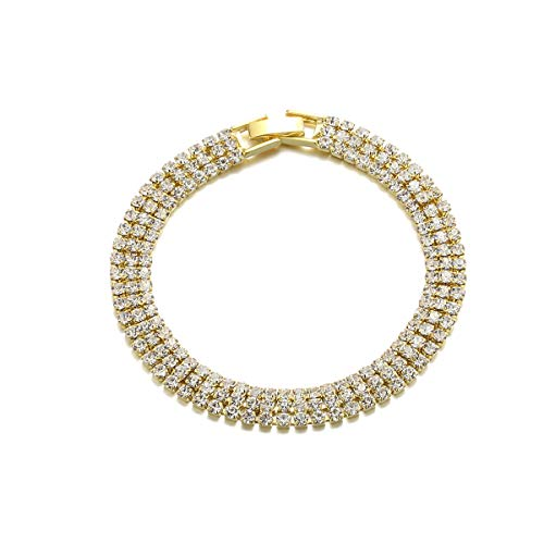 Barabum Bracelet ♥Christmas Jewelry Gifts♥ Romantic Bangle with Rhinestone, Fashion Jewelry for Women with a Luxury Gifts Packing (3 Row Gold) ()