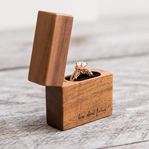 Walnut Flip Engagement Ring Box