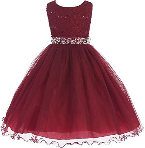 Little Girl Glitters Sequined Bodice Double Layer Tulle Rhinestones Sash Flower Girl Dress Burgundy 2 JK3670