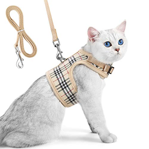 Unihubys Cat Harness with Leash Set- Adjustable Soft Mesh Material with Strong D-Ring for Peace of Mind, Great for Walking (L, Beige) (D-ring Cat Harness)
