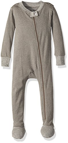 Burt's Bees Baby Baby Boys' Soft Organic GOTS Certified Stripe Zip Front Non-Slip Footed Sleeper Pajama, Charcoal/Heather Grey Classic Stripe, 12 Months