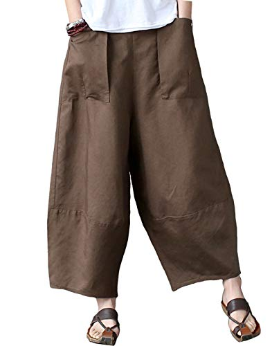 (Aeneontrue Women's Patchwork Wide Leg Pants Trousers with Big Pockets (Large, Style1_Brown))