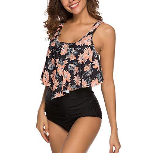 papasgix Womens Ruffled High Waisted Bikini Swimsuit Two Pieces Bathing Suits Racerback Top Tankini Set (Tag S/US 2-4, A-Black Flower)