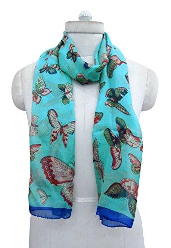 oliva pollici verde sciarpa X stampato farfalla blu bandana morbido seta donne sciarpe avvolgere rettangolo e Aboutyou di 20 70 anTZpqq7