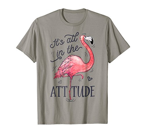 Mens Attitude Tees - It's All in the Attitude T shirt Pink Flamingo Watercolor
