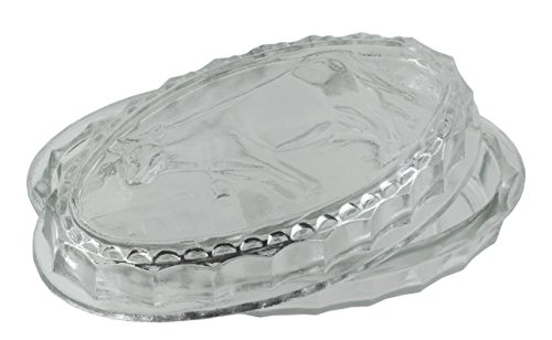 Vintage Style Lidded Clear Glass Cow Cheese & Butter Dish - Aged Farmhouse Chic Home (Dome Butter Dish)