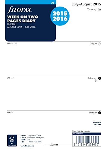 Filofax A5 Week On 2 Page Mid Year Diary 2015-2016