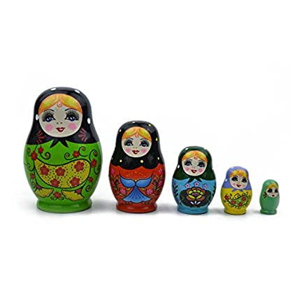Amazon Com Wandofo 5 Layers Russian Dolls Wooden Colorful Hand