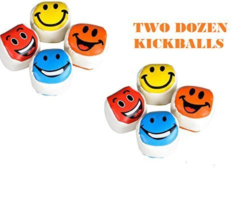 2 Dozen SMILEY FACE Kickballs ~ Fun 2'' Footbags Kickballs ~ Colorful Birthday Party Favor ~ Coach Team Prize ~ School Outdoor Play ~ Toys ~ New by RN