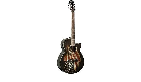 Nueva Oscar Schmidt og10ce-lag tamaño concierto acústico guitarra eléctrica con gráfico de bandera de Estados Unidos: Amazon.es: Instrumentos musicales