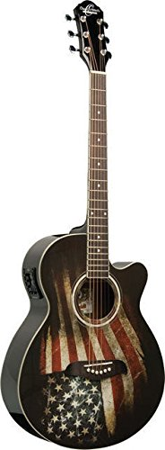 NEW Oscar Schmidt OG10CE-LAG Concert Size Acoustic Electric Guitar with USA Flag Graphic