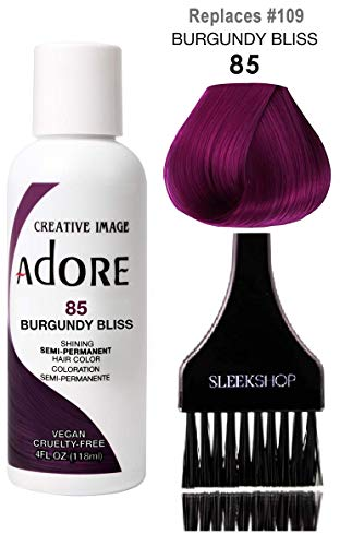 ADORE Creative Image Shining SEMI-PERMANENT Hair Color (STYLIST KIT) No Ammonia, No Peroxide, No Alcohol Haircolor Semi Permanent Dye (85 Burgundy Bliss)