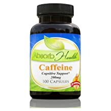 Caffeine | 100 Capsules | 200mg per Capsule | Cognitive Enhancer | Athletic Support to Improve Workouts