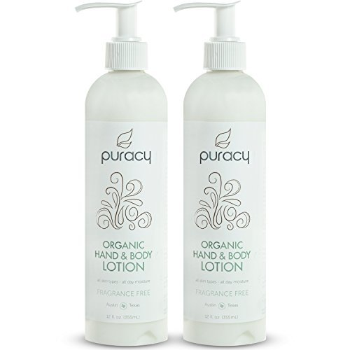 Puracy Organic Hand & Body Lotion, Fragrance Free All Day Natural Moisturizer, 12 Ounce