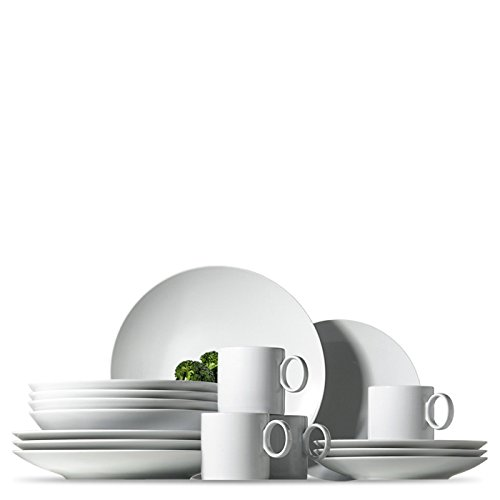 Set Bistro Dining Fancy (Rosenthal Thomas Loft White Dinnerware Set | Modern Dishes including Dinner Plates, Salad Plates, Soup Plates and Mugs | Made of Porcelain | 16 pieces)