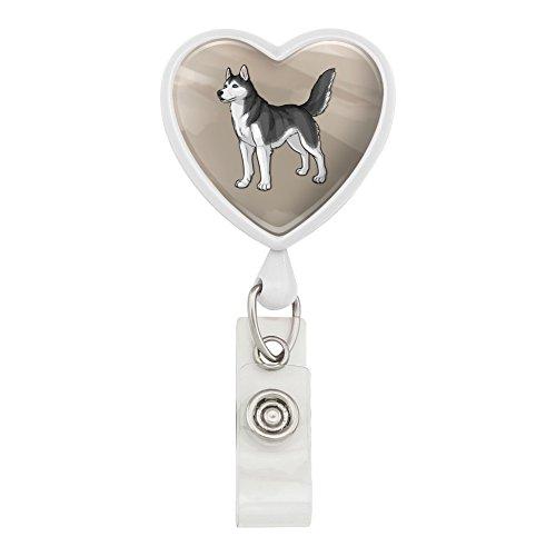 (Siberian Husky Pet Dog Heart Lanyard Retractable Reel Badge ID Card Holder - White)