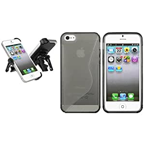 Claro Smoke S Line Forma Wave TPUFunda Para New iPhone 5 5G+Coche Vent Mount