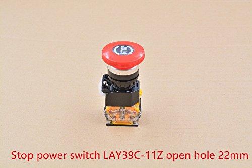 GIMAX Emergency Stop Mushroom Button Stop Power Switch LAY39C-11Z one Often Opens Often Shuts Open Hole 22mm 1pcs ()
