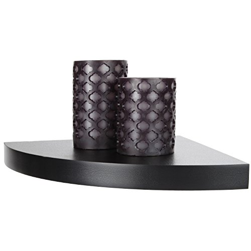 Arad Black Laminate Large Radial Corner Wall Shelf