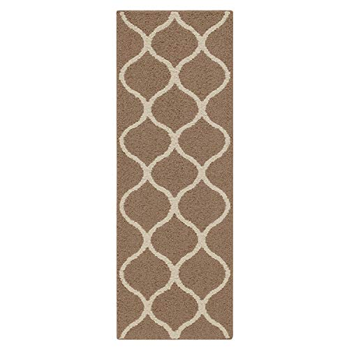 - Maples Rugs Runner Rug - Rebecca 1'9 x 5' Non Skid Hallway Carpet Entry Rugs Runners [Made in USA] for Kitchen and Entryway, Café Brown/White
