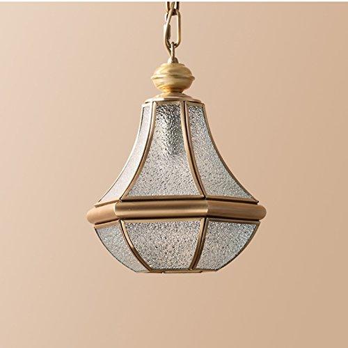 LOFAMI European Style Retro Luxury Copper Chandelier Glass Lampshade E27 Pendant Lamp Living Room Corridor Cafe Study Decoration Ceiling Lamp, 28 32CM by LOFAMI (Image #4)