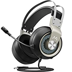 Mpow EG3 Gaming Headset (Upgraded Version) 7.1 Surround Sound丨50mm Neodymium Speakers丨Personalized Equalizer Setting丨Noise Canceling Microphone Immerse yourself in the action with Mpow Over-Ear Gaming Headset for PC and PS4. Virtual 7.1 surro...