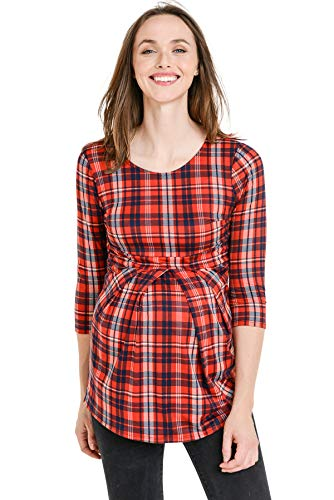 LaClef Women's Round Neck 3/4 Sleeve Front Maternity Pleat Peplum Top (Red Plaid, L)