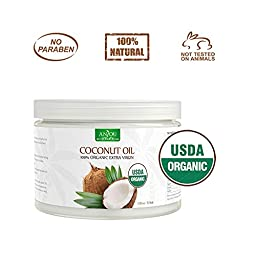 Anjou Organic Coconut Oil, Cold Pressed Unrefined, Extra Virgin for Beauty, Cooking, Health, Dogs, DIY Lotion, Hair, Skin, Turn to Liquid above 76 F Degree, Source from Sri Lanka, 11 Oz