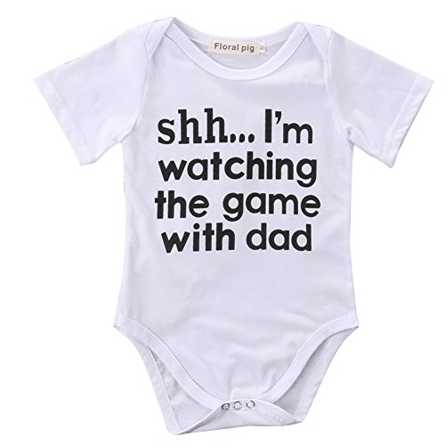 Newborn Infant Babys Short Sleeve Shh... I'm Watching The Game With Dad Bodysuit Romper Outfits (3-6 Months, White)