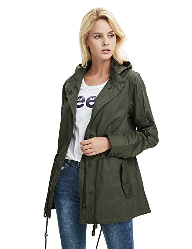 Cekaso Women's Anorak Jacket Lightweight Drawstring Hooded Military Parka Coat, Army Green, TagsizeXXL=USsize14-16