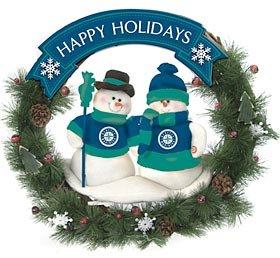 (SC Sports Seattle Mariners Team Snowman Christmas Wreath )