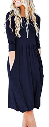 Pleated Empire - NENONA Womens Long Sleeve Pocket Empire Waist Pleated Loose Swing Casual Flare Midi Dress (Navy-XXL)