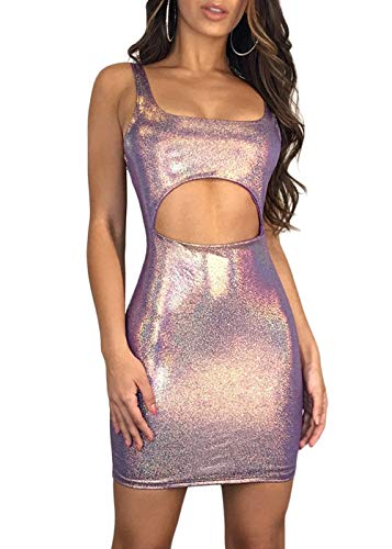 Joyfunear Women's Sexy Kim Birthday Outfit Sequin Cut Out PU Faux Leather Bodycon Mini Dress Purple X-Large ()