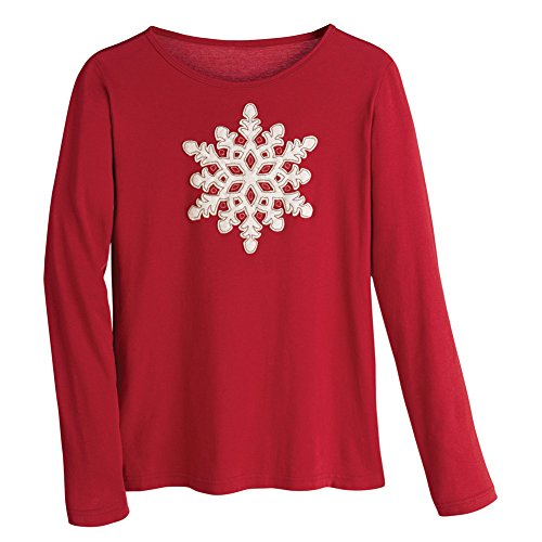 Women's Red Long Sleeve T-Shirt - Embroidered Velvet Snowflake Tee - 2X