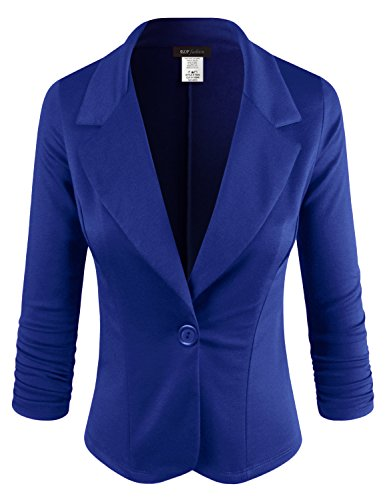 ELF FASHION Women Casual Work Knit Office Blazer Jacket Made in USA (Size S~3XL) RoyalBlue 2XL (Best Brand For Winter Jackets In Usa)