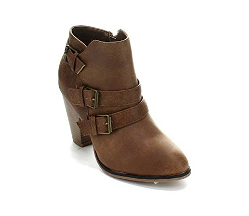 Womens Faux Leather Stacked Chunk Heel Strappy Buckle Ankle Boots in Black, Tan, Brown Tan