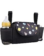 Lelesta Barnvagn Arrangör Stor Kapacitet Buggy Organisatör Barnvagn Väska med 2 Flaskhållare Hängande Sittvagn Arrangör Baby Tillbehör Passar Alla Buggy Modeller (Planet)