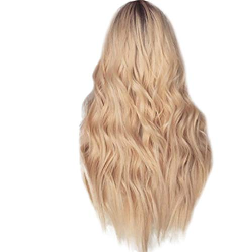 Ydida Mixed Golden Wig Natural Mix Long Straight Synthetic Wig Women Ladies Sexy Charming Natural Mix Gold Long Curly Wavy Synthetic Wig Full Lace Wig Front Wig Rose Net Full Wig Front Wig