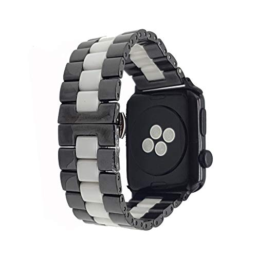 TCSHOW 44mm/42mm Two Tone Ceramics Stainless Steel Removable Link Strap Bracelet Watch Band with Butterfly Buckle Clasp Compatible for iWatch 42mm/44mm All Models ()