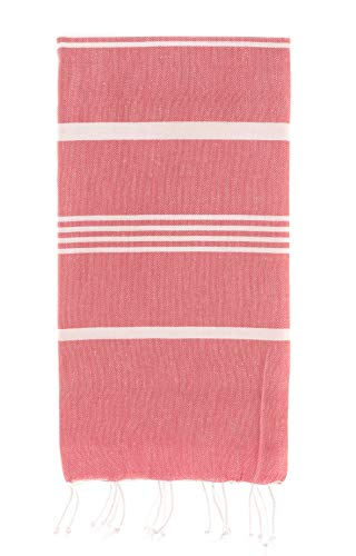 100% Natural Turkish Cotton Peshtemal Towels Pestemal Towel Thin Camping Bath Sauna Beach Gym Pool Blanket Fouta Towels Absorbent Easy Care Dark Coral