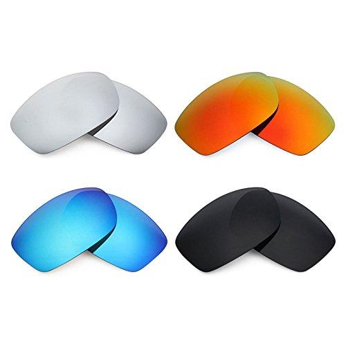 Mryok 4 Pair Polarized Replacement Lenses for Costa Del Mar Zane Sunglass - Stealth Black/Fire Red/Ice Blue/Silver - Sunglasses Zane Costa