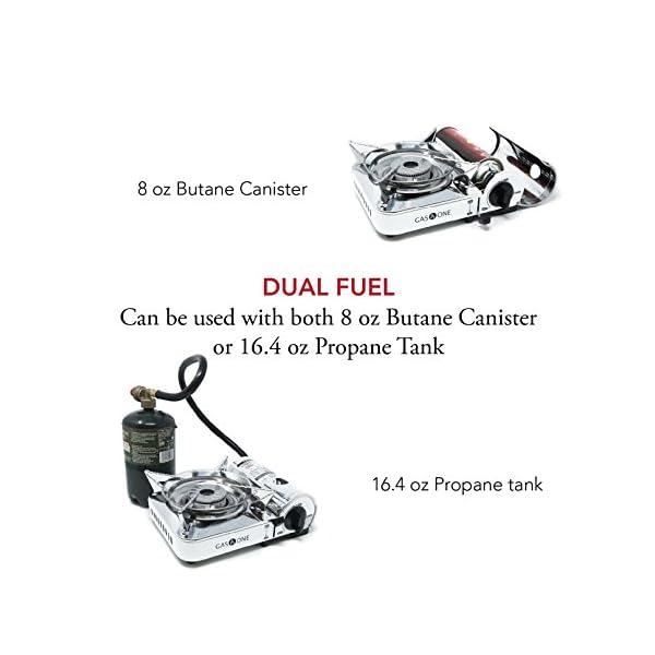 GasOne Camp Stove - Propane & Butane GS-800P Mini Dual Fuel Stainless Portable Propane & Butane Camping Stove Burner… 5