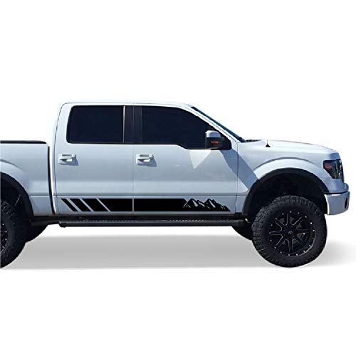 Stickers Ford Truck - Bubbles Designs Set of Side Mountain Stripes Decal Sticker Graphic Compatible with Ford F150 Series 2009-2017 (Black)