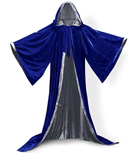 Qianruidia Hooded Cloak Long Velvet Cape for Christmas Halloween Cosplay Costumes