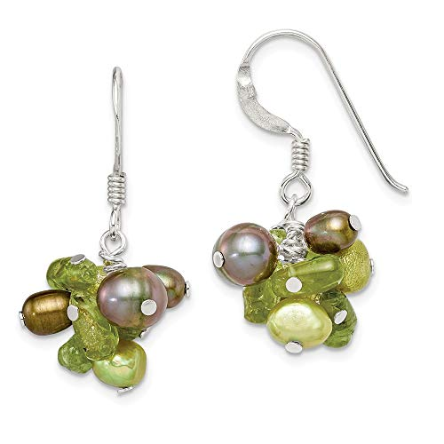 925 Sterling Silver Green Freshwater Cultured Pearl/peridot Drop Dangle Chandelier Earrings Fine Jewelry Gifts For Women For Her