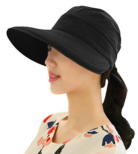Bellady Women's Visor Hats UV Protection Summer Sun Hats Wide Brim Cap, Black