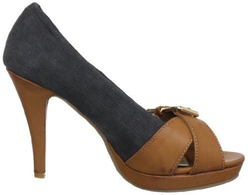 XTI Woman Peeptoe Pumps XTI25792 SP13 - Peep Toes de lona para mujer Negro (Schwarz (negro X3))